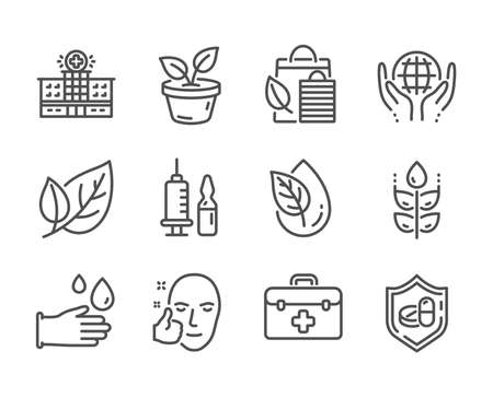 Set of Healthcare icons, such as Bio shopping, Hospital building, Organic product, Organic tested, Medical vaccination, Rubber gloves, First aid, Leaf, Medical tablet, Healthy face, Leaves. Vector