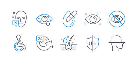 Set of Medical icons, such as Disabled, Сonjunctivitis eye, Eye drops, Uv protection, Serum oil, 24 hours, Face declined, Not looking, Face scanning line icons. Line disabled icon. Vector