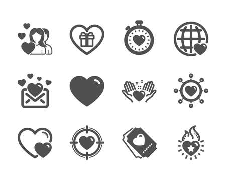 Set of Love icons, such as Couple, International love, Hold heart, Heart flame, Valentine target, Hearts, Love ticket, Dating network, Heartbeat timer, Romantic gift classic icons. Couple icon. Vector Archivio Fotografico - 128736415