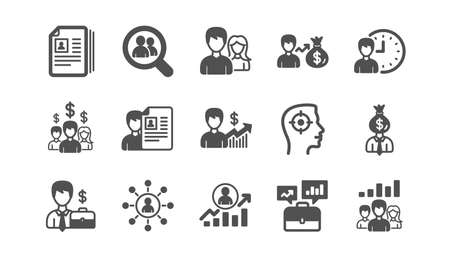 Human resources icons. Head Hunting, Job center and User. Interview classic icon set. Quality set. Vector
