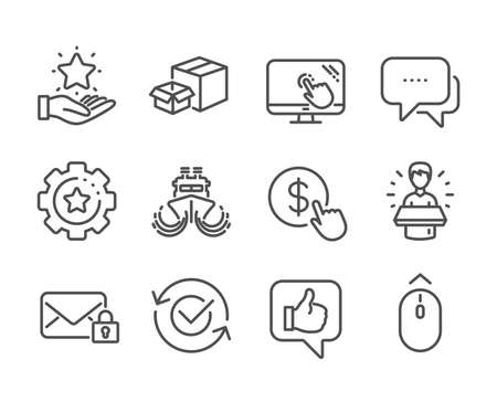 Set of Technology icons, such as Touch screen, Like, Swipe up, Loyalty program, Settings gear, Brand ambassador, Ship, Secure mail, Message, Approved, Buy currency, Packing boxes. Vector Illustration