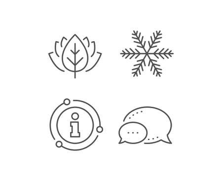 Snowflake line icon. Chat bubble, info sign elements. Christmas snow sign. Winter or cold symbol. Linear snowflake outline icon. Information bubble. Vector Ilustração