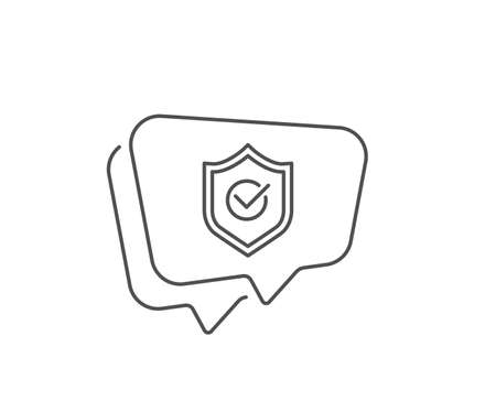 Approved shield line icon. Chat bubble design. Accepted or confirmed sign. Protection symbol. Outline concept. Thin line approved shield icon. Vector Ilustração