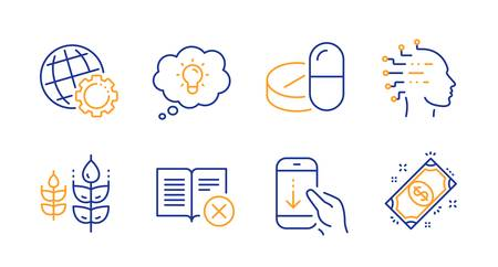 Scroll down, Artificial intelligence and Energy line icons set. Globe, Reject book and Gluten free signs. Medical drugs, Payment symbols. Swipe phone, Mind intellect. Business set. Vector Vectores