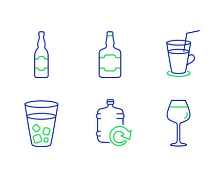 Beer bottle, Refill water and Cocktail line icons set. Whiskey bottle, Ice tea and Bordeaux glass signs. Craft beer, Fresh beverage, alcohol. Soda beverage. Food and drink set. Vector Иллюстрация
