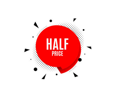 Half Price. Banner badge, offer sticker. Special offer Sale sign. Advertising Discounts symbol. Half price banner. Sticker badge. Vector