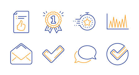 Approved document, Messenger and Reward line icons set. Timer, Tick and Line graph signs. Mail, Verify symbols. Like symbol, Speech bubble. Education set. Line approved document icon. Vector