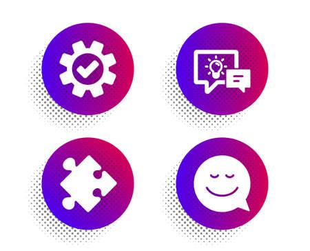 Lámpara de idea, servicio y estrategia conjunto simple de iconos. Botón de puntos de semitono. Signo de sonrisa. Energía empresarial, engranaje de rueda dentada, rompecabezas. Charla de emoción. Conjunto de tecnología. Icono de lámpara clásica idea plana. Vector