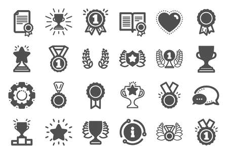 Award icons. Set of Winner medal, Victory cup and Laurel wreath award icons. Reward, Certificate and Diploma message. Glory shield, Prize winner, rank star, diploma certificate. Quality set. Vector