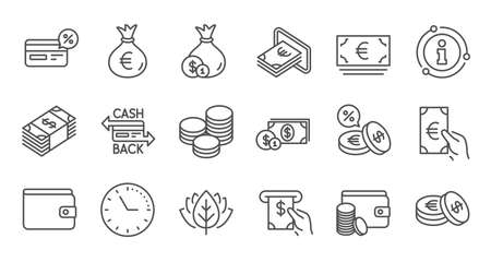 Money and payment line icons. Cash, Wallet and Coins. Account cashback linear icon set. Quality line set. Vector Foto de archivo - 128736496