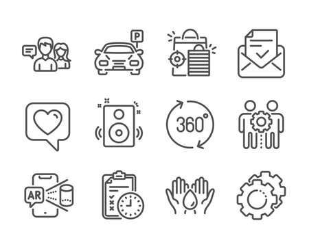 Set of Technology icons, such as Speakers, Safe water, Augmented reality, Heart, Exam time, Parking, Approved mail, People talking, Employees teamwork, Settings gears, 360 degrees. Vector