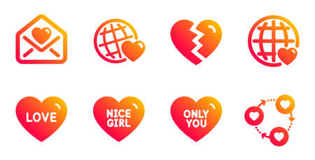 Break up, Nice girl and Friends world line icons set. Love, Only you and Love letter signs. Friends community symbol. Divorce, Sweetheart. Love set. Gradient break up icons set. Vector Иллюстрация