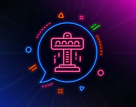 Carousels line icon. Neon laser lights. Amusement attraction park sign. Glow laser speech bubble. Neon lights chat bubble. Banner badge with attraction icon. Vector