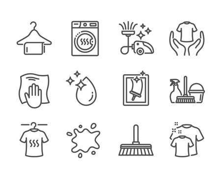 Set of Cleaning icons, such as Washing cloth, Window cleaning, Clean towel, Household service, Hold t-shirt, Water drop, Dirty spot, Dry t-shirt, Dryer machine, Cleaning mop line icons. Vector