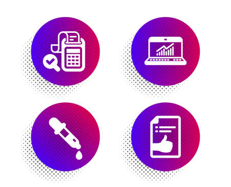 Online statistics, Bill accounting and Chemistry pipette icons simple set. Halftone dots button. Approved document sign. Computer data, Audit report, Laboratory. Like symbol. Education set. Vector Banco de Imagens - 132271738