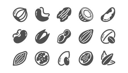 Nuts and seeds icons. Hazelnut, Almond nut and Peanut. Sunflower seeds, Brazil nut, Pistachio icons. Walnut, Coconut and Cashew nuts. Classic set. Quality set. Vector Stock Illustratie