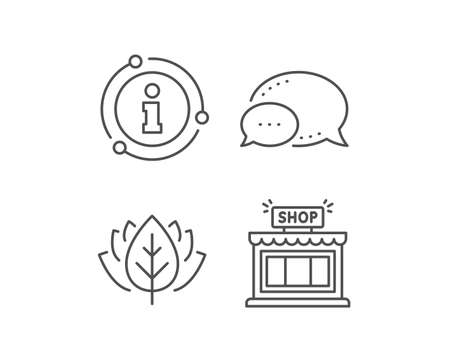 Shop line icon. Chat bubble, info sign elements. Store symbol. Shopping building sign. Linear shop outline icon. Information bubble. Vector 向量圖像