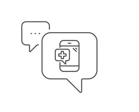 Medicine phone line icon. Chat bubble design. Mobile medical help sign. Outline concept. Thin line medical phone icon. Vector Banque d'images - 128970054