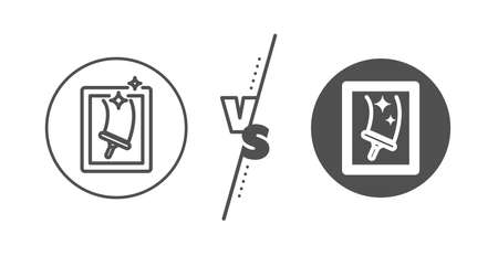 Washing service symbol. Versus concept. Window cleaning line icon. Housekeeping equipment sign. Line vs classic window cleaning icon. Vector Ilustracja