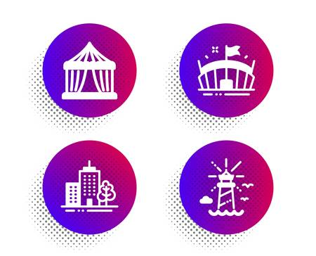 Circus tent, Arena and Skyscraper buildings icons simple set. Halftone dots button. Lighthouse sign. Attraction park, Sport stadium, Town architecture. Navigation beacon. Buildings set. Vector 일러스트