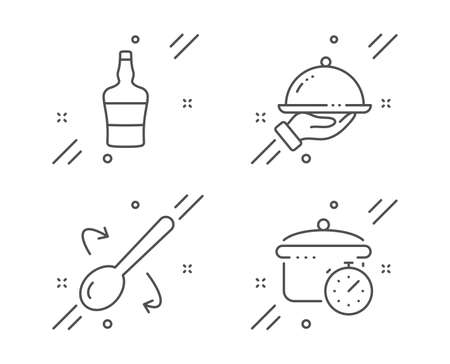 Restaurant food, Scotch bottle and Cooking spoon line icons set. Boiling pan sign. Room service, Brandy alcohol, Cutlery. Cooking timer. Food and drink set. Line restaurant food outline icon. Vector