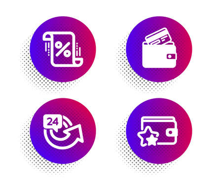 Loan percent, 24 hours and Debit card icons simple set. Halftone dots button. Loyalty program sign. Discount blueprint, Repeat, Wallet with credit card. Bonus wallet. Finance set. Vector