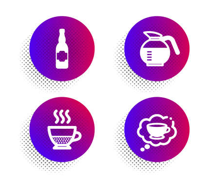 Doppio, Coffeepot and Beer bottle icons simple set. Halftone dots button. Coffee cup sign. Coffee drink, Craft beer, Think bubble. Food and drink set. Classic flat doppio icon. Vector