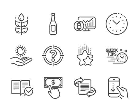 Set of Business icons, such as Gluten free, Time management, Quick tips, Approved documentation, Payment click, Ranking stars, Beer, Sun protection, Bitcoin chart, Scroll down, Headhunter. Vector