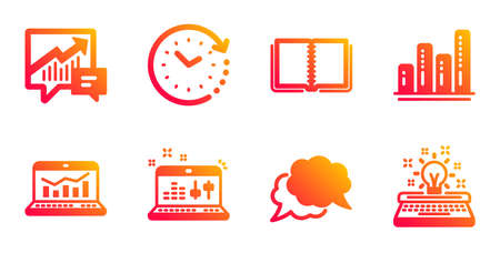Accounting, Book and Graph chart line icons set. Time change, Web analytics and Sound check signs. Chat message, Typewriter symbols. Supply and demand, E-learning course. Education set. Vector Çizim
