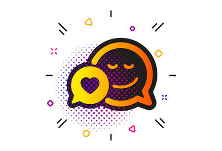 Chat emotion with heart sign. Halftone circles pattern. Comic speech bubble with Smile icon. Classic flat dating icon. Vector Ilustração