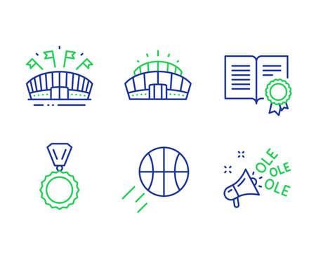 Ensemble d'icônes de ligne de médaille, de diplôme et d'arène sportive. Basket-ball, stade Arena et panneaux de chant Ole. Gagnant, Document avec badge, Stade de l'événement. Ballon de sport. Ensemble de sport. Icônes de contour de médaille de ligne. Vecteur