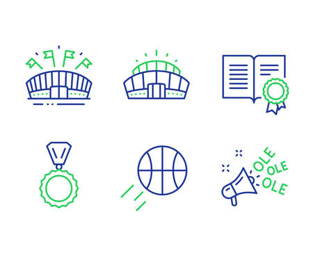 Medal, Diploma and Sports arena line icons set. Basketball, Arena stadium and Ole chant signs. Winner, Document with badge, Event stadium. Sport ball. Sports set. Line medal outline icons. Vector Illustration