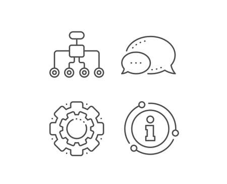 Restructuring line icon. Chat bubble, info sign elements. Business architecture sign. Delegate symbol. Linear restructuring outline icon. Information bubble. Vector