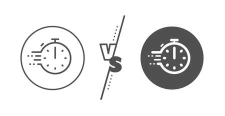 Frying stopwatch sign. Versus concept. Cooking timer line icon. Food preparation symbol. Line vs classic cooking timer icon. Vector