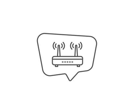 Wifi router line icon. Chat bubble design. Computer component sign. Internet symbol. Outline concept. Thin line wifi icon. Vector