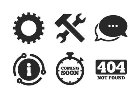 Repair service tool and gear symbols. Chat, info sign. Coming soon icon. Hammer with wrench signs. 404 Not found. Classic style speech bubble icon. Vector