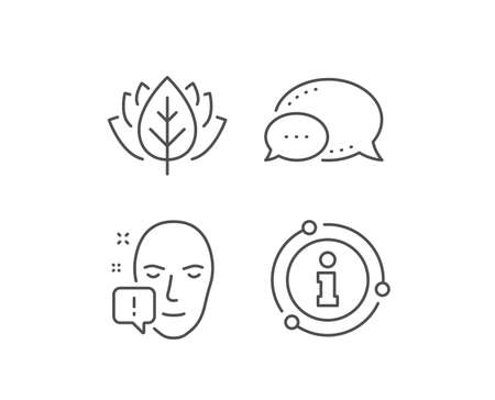 Face attention line icon. Chat bubble, info sign elements. Exclamation mark sign. Facial identification info symbol. Linear face attention outline icon. Information bubble. Vector