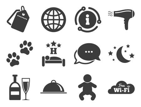 Restaurant sign. Discount offer tag, chat, info icon. Hotel, apartment service icons. Alcohol drinks, wi-fi internet and sleep symbols. Classic style signs set. Vector
