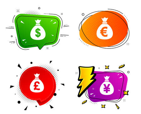 Dollar, Euro, Pound and Yen symbols. Banner badges, various colors. Money bag icons. USD, EUR, GBP and JPY currency signs. Chat bubble vector shape. Gradient banner. Price tag. Vector 向量圖像