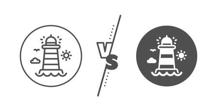 Beacon tower sign. Versus concept. Lighthouse line icon. Searchlight building symbol. Line vs classic lighthouse icon. Vector