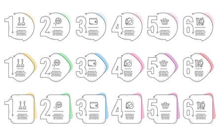 Basketball, Shop cart and Repairman line icons set. Infographic timeline. Money wallet, Cooking cutlery and Medical drugs signs. Sport ball, Web buying, Repair screwdriver. Payment method. Vector