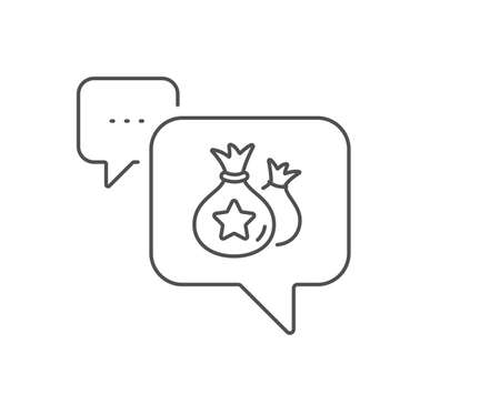 Loyalty points line icon. Chat bubble design. Bonus money bags. Discount program symbol. Outline concept. Thin line loyalty points icon. Vector Illustration