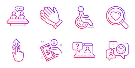 Clapping hands, Employees talk and Swipe up line icons set. Faq, Search love and Disability signs. Payment method, Time management symbols. Clap, Collaboration. People set. Vector Standard-Bild - 128970258