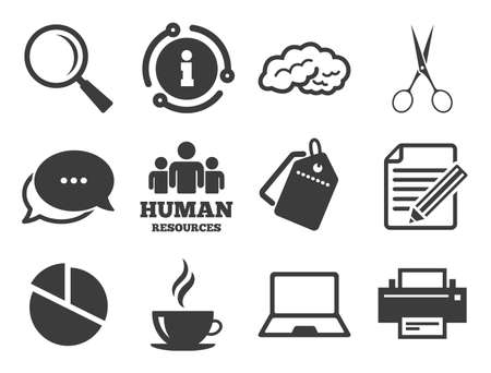 Human resources, notebook and printer signs. Discount offer tag, chat, info icon. Office, documents and business icons. Scissors, magnifier and coffee symbols. Classic style signs set. Vector