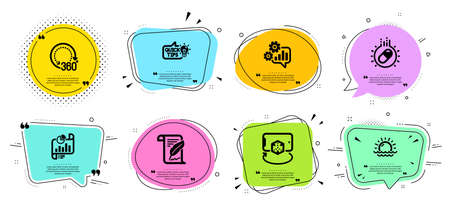 Education idea, Feather and Cogwheel line icons set. Chat bubbles with quotes. Capsule pill, Augmented reality and Sunset signs. Report document, 360 degrees symbols. Vector Stock Illustratie
