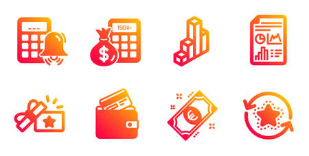 Loyalty gift, 3d chart and Report document line icons set. Debit card, Finance calculator and Calculator alarm signs. Euro money, Loyalty points symbols. Bonus award, Presentation column. Vector