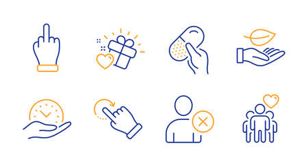 Capsule pill, Delete user and Love gift line icons set. Middle finger, Rotation gesture and Leaf signs. Safe time, Friendship symbols. Medicine drugs, Remove profile. People set. Vector
