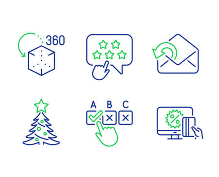 Correct checkbox, Christmas tree and Augmented reality line icons set. Ranking star, Send mail and Online shopping signs. Answer, Spruce, Virtual reality. Click rank. Business set. Vector