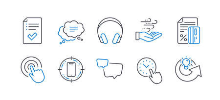 Set of Technology icons, such as Speech bubble, Wind energy, Headphones, Time management, Click, Credit card, Text message, Approved checklist, Smartphone target, Share idea line icons. Vector Ilustrace