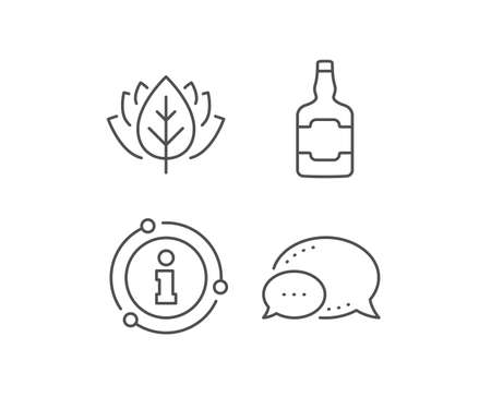 Whiskey bottle line icon. Chat bubble, info sign elements. Scotch alcohol sign. Linear whiskey bottle outline icon. Information bubble. Vector